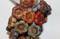 Flower as a button 18 mm mix/matte/old patina