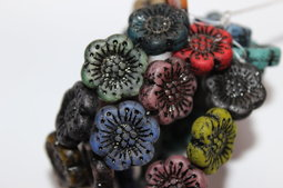 Flowers as a button 18 mm mix/matte/black