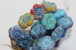 Flower as a button 18 mm mix/matte/blue