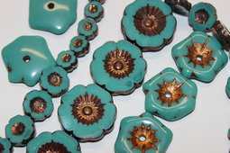 Hawaiian flowers/bronze & Aloha flowers/old patina/creative set