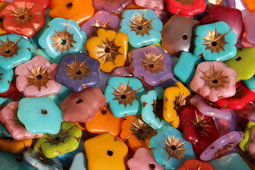 Aloha flowers 20 mm mix/shine/old patina SAMPLES