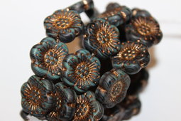 Flower as a button 18 mm matte/old patina