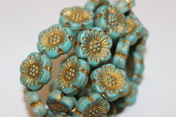 Flower as a button 18 mm mix/matte/bronze