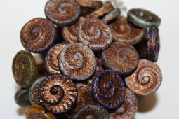 Sea glass fossils 17 mm mix/matte/old patina