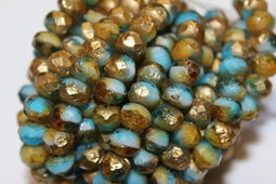 Sea glass rondells 9x6 mm combination/matte/gold