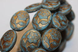 Flowers 21x16 mm matte/old patina